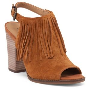 Lucky Brand Liennah Open Toe Fringed Ankle Bootie